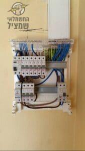 חשמלאי בודק חיבורים בלוח חשמל בדירה באם המושבות בפתח תקווה