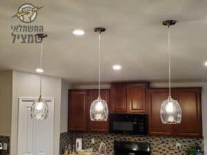 התקנת תאורה נופלת במטבח בבית בשדרות